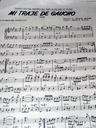 'Mi Traje de Gaucho'の楽譜